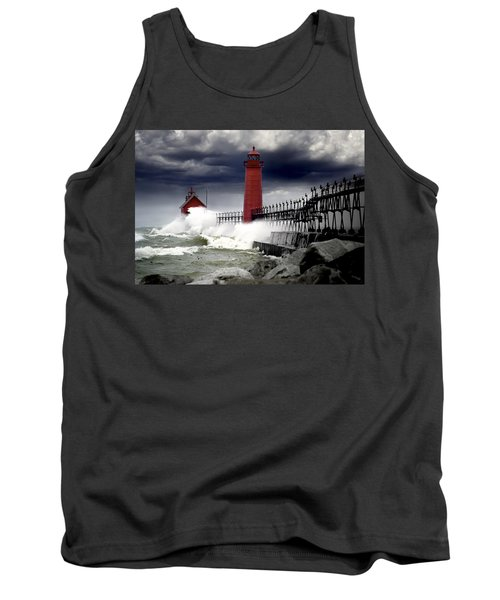 Storm At The Grand Haven Lighthouse Tank Top by Randall Nyhof