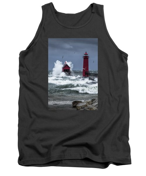 Storm On Lake Michigan By The Grand Haven Lighthouse With Flying Gulls Tank Top
