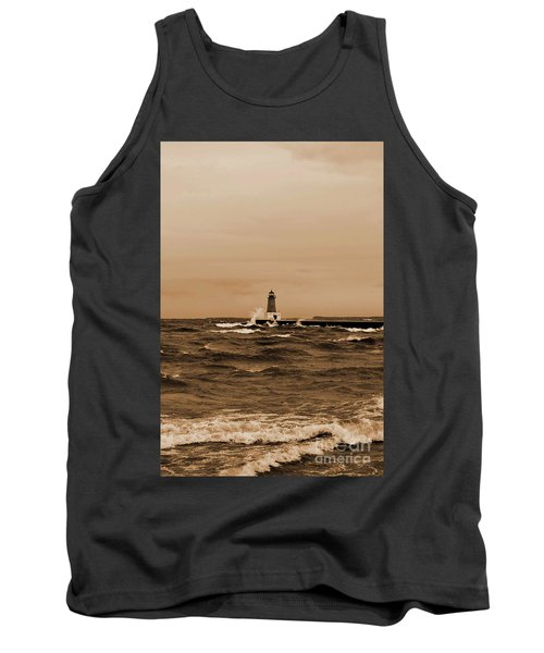 Storm Sandy Effects Menominee Lighthouse Sepia Tank Top