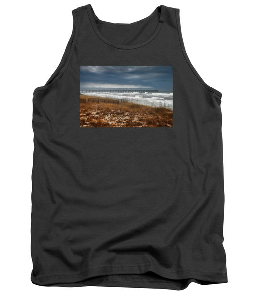 Stormy Day At The Pier Tank Top by Renee Hardison