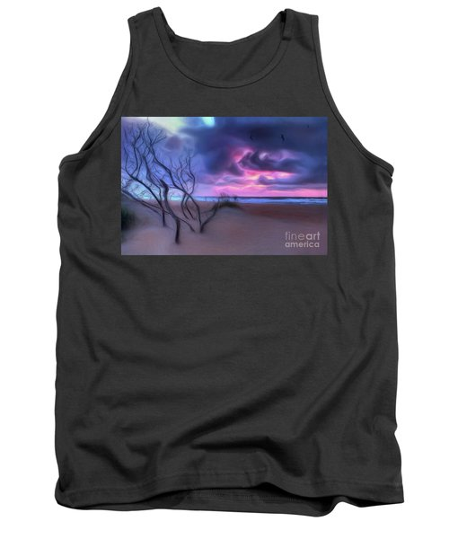 Stormy Outer Banks Sunrise And Bush Ap Tank Top by Dan Carmichael