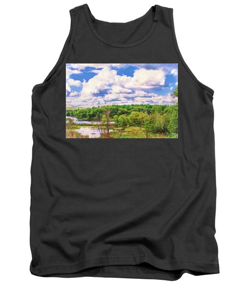 Striking Clouds Above Small Water Inlet And Green Trees Tank Top