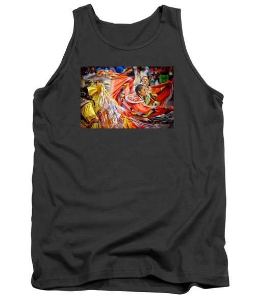 Tank Top featuring the photograph Fancy Shawl Dancers 3 by Clarice Lakota