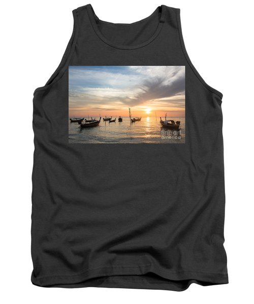 Stunning Sunset Over Wooden Boats In Koh Lanta In Thailand Tank Top