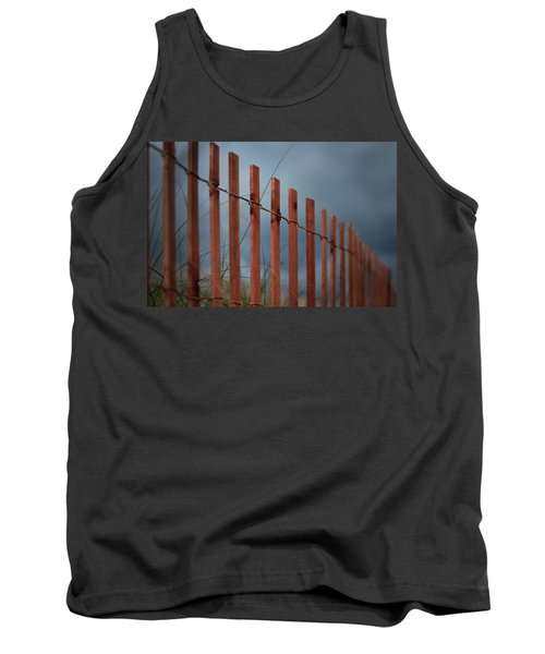 Tank Top featuring the photograph Summer Storm Beach Fence by Laura Fasulo