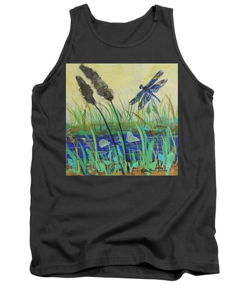 Tank Top featuring the painting Summertime Dragonfly by Robin Maria Pedrero