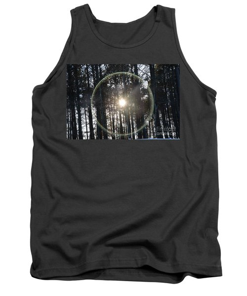 Sun Or Lens Flare In Between The Woods -georgia Tank Top