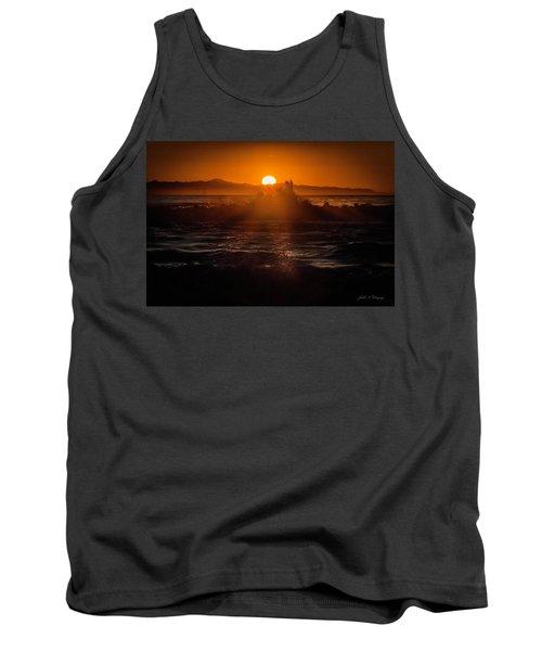 Sun Setting Behind Santa Cruz Island Tank Top by John A Rodriguez