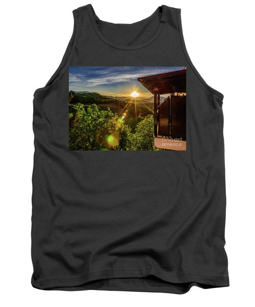 Sunburst View From Dellas Boutique Hotel Near Meteora In Kastraki, Kalambaka, Greece Tank Top