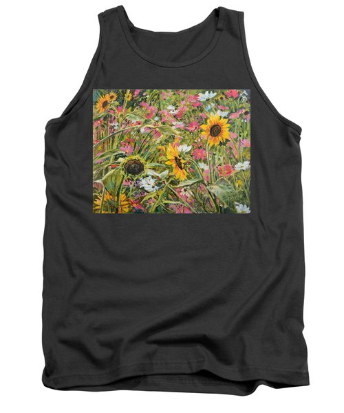 Tank Top featuring the painting Sunflower And Cosmos by Steve Spencer