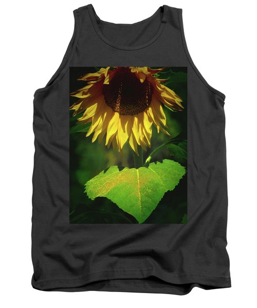 Sunflower And Gold Leaf - Beauty In The Garden - Floral Photography Tank Top
