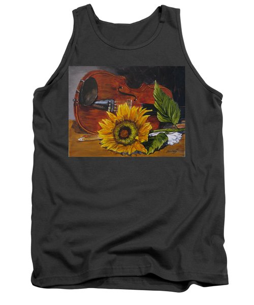 Sunflower And Violin Tank Top