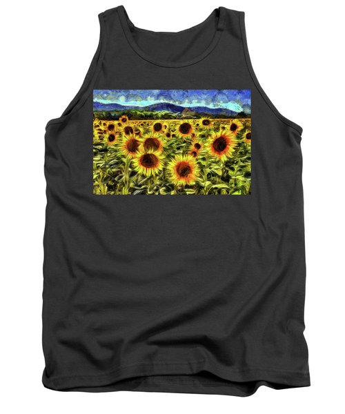 Sunflower Field Van Gogh Tank Top