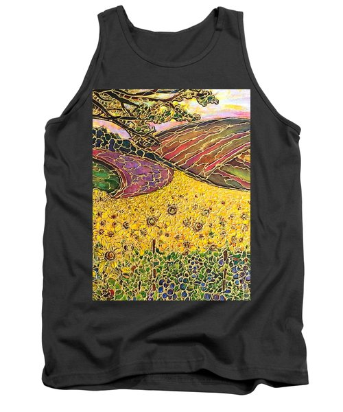Tank Top featuring the painting Sunflower Fields by Rae Chichilnitsky