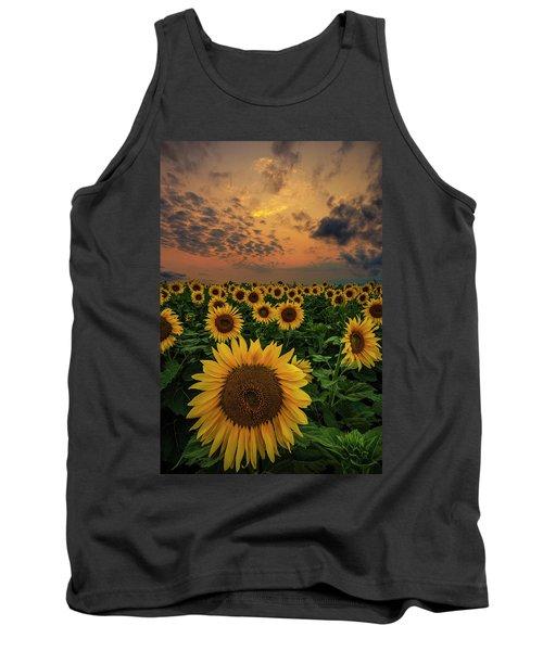 Tank Top featuring the photograph Sunflower Sunset  by Aaron J Groen
