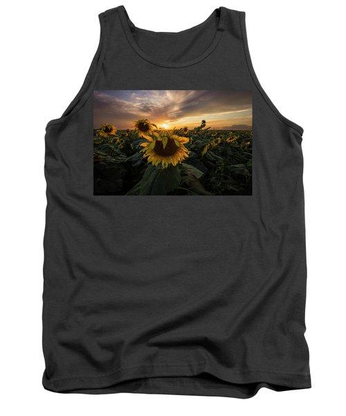 Tank Top featuring the photograph Sunflower Sunstar  by Aaron J Groen