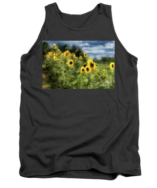Sunflowers Bowing And Waving Tank Top