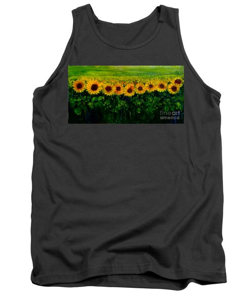 Sunflowers In A Row Tank Top