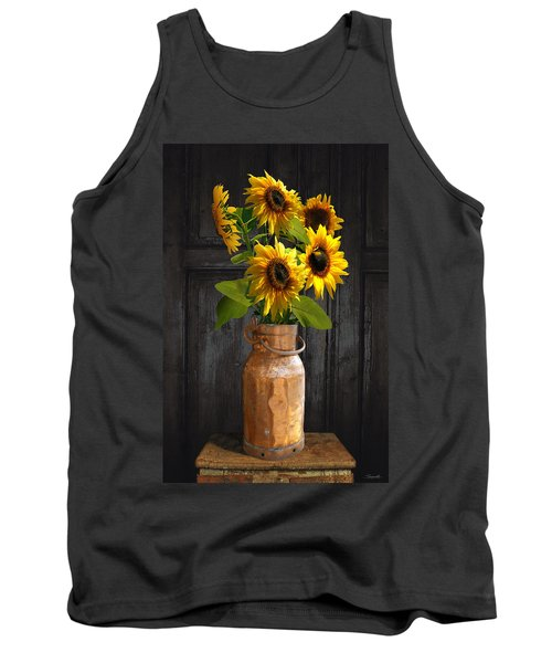 Sunflowers In Copper Milk Can Tank Top