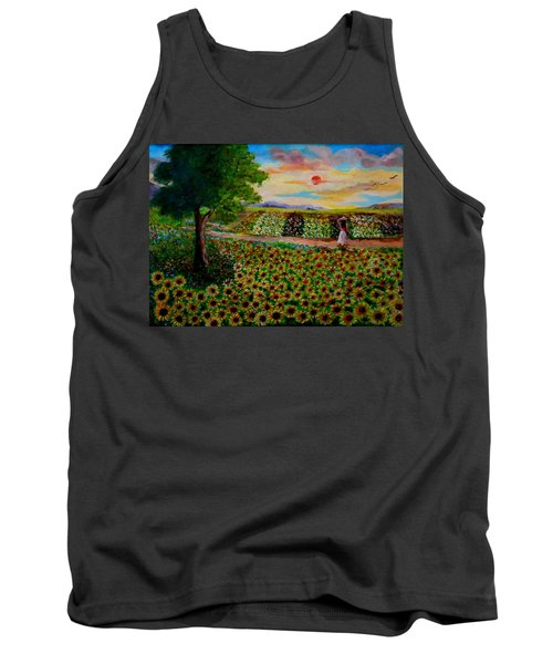 Sunflowers In Sunset Tank Top
