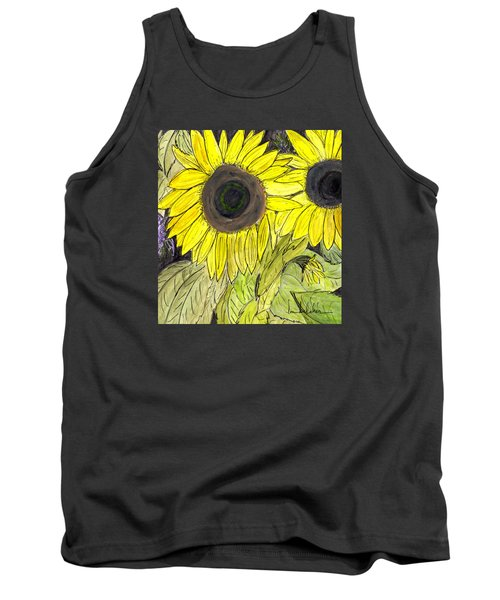 Tank Top featuring the painting Sunflowers by Lou Belcher