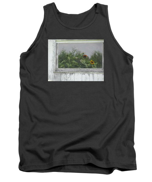 Sunflowers On Barn Tank Top by Tina M Wenger