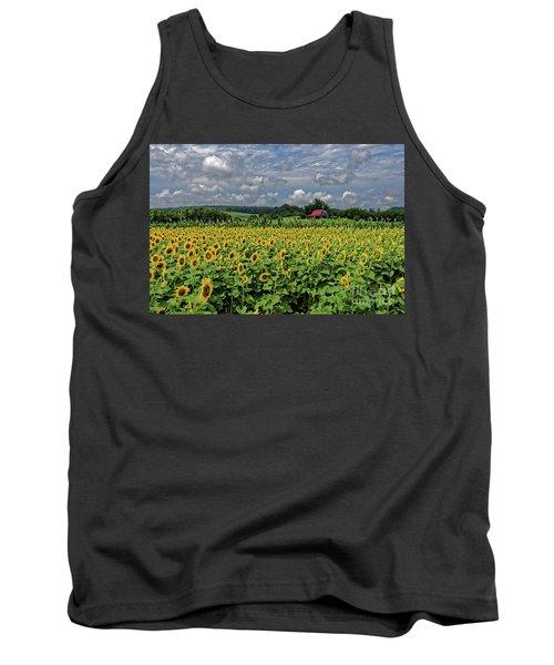 Sunflowers With Barn Tank Top