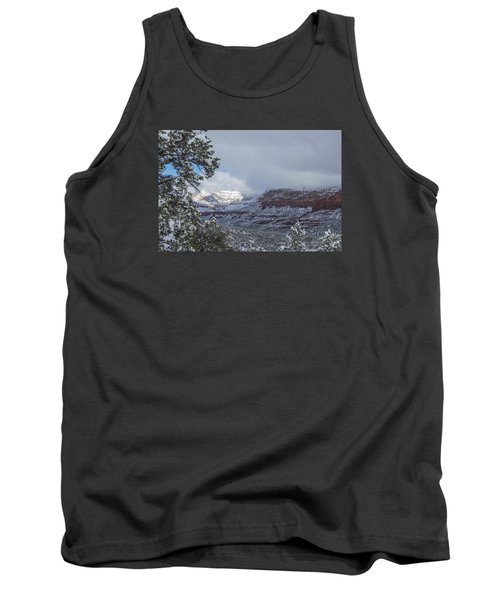 Tank Top featuring the photograph Sunlit Snowy Cliff by Laura Pratt
