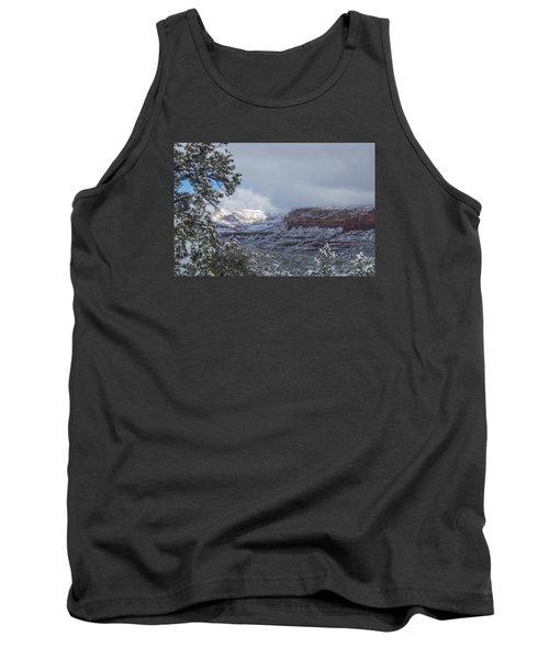 Sunlit Snowy Cliff Tank Top