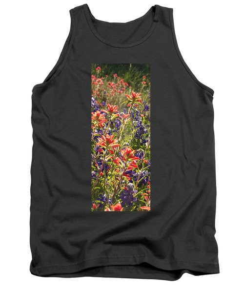 Tank Top featuring the painting Sunlit Wild Flowers by Karen Kennedy Chatham