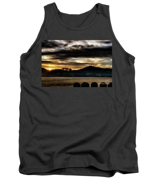 Tank Top featuring the photograph Sunrise And Hay Bales by Thomas R Fletcher