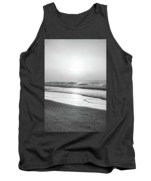 Tank Top featuring the photograph Sunrise At Beach Black And White  by John McGraw