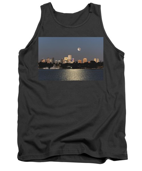 Tank Top featuring the photograph Sunrise Moon Over Miami by Gary Dean Mercer Clark