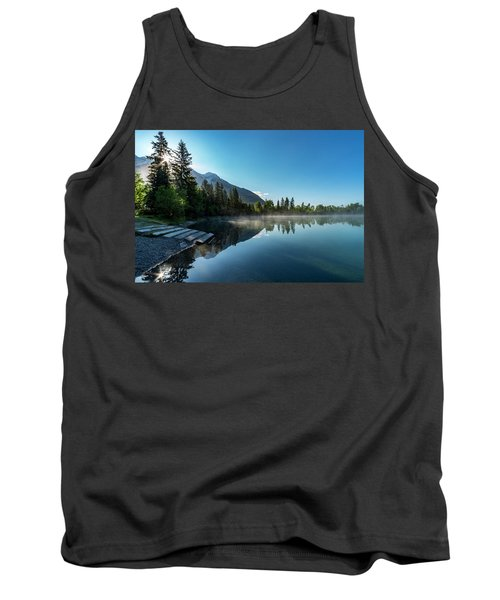 Tank Top featuring the photograph Sunrise Over The Mountain And Through The Tree by Darcy Michaelchuk