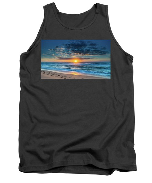 Sunrise Seascape With Footprints In The Sand Tank Top