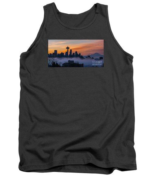 Sunrise Seattle Skyline Above The Fog Tank Top by Mike Reid
