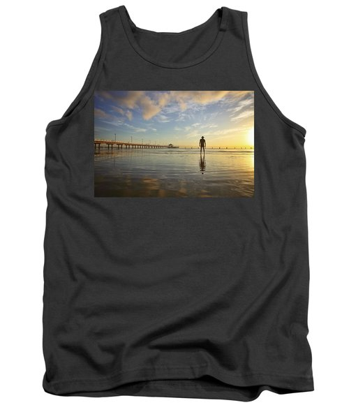 Sunrise Silhouette Down By The Pier. Tank Top