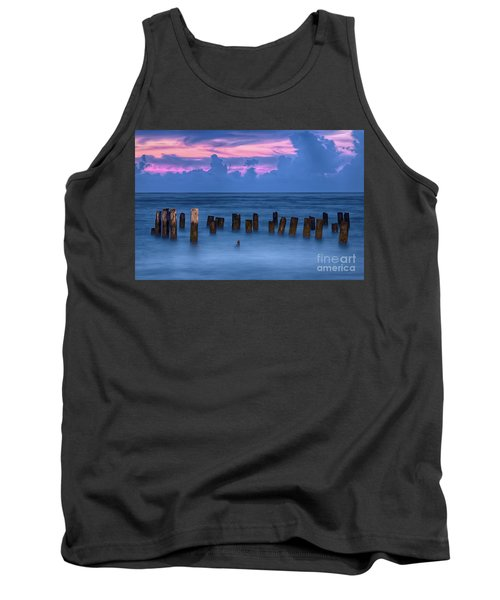Sunrise Wharf On Ocracoke Island Outer Banks Tank Top by Dan Carmichael