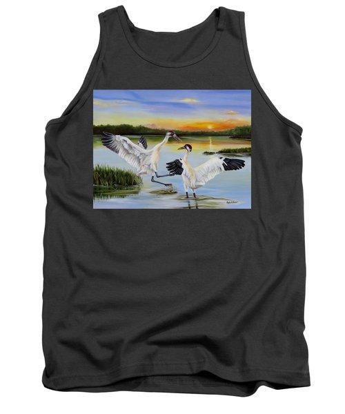 Sunrise Whooping Cranes Tank Top by Phyllis Beiser