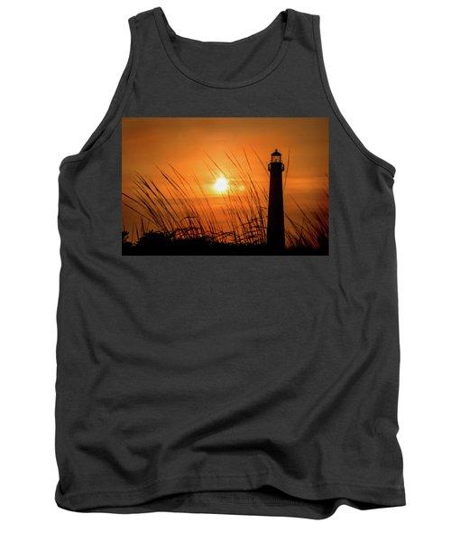 Sunset At Cm Lighthouse Tank Top