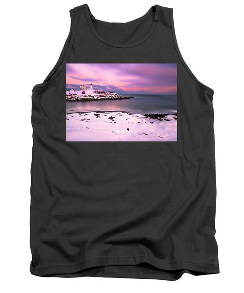 Tank Top featuring the photograph Sunset At Nubble Lighthouse In Maine In Winter Snow by Ranjay Mitra