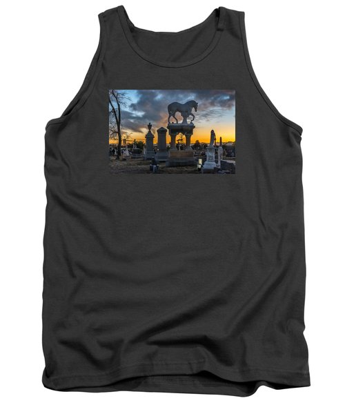 Sunset At Riverside Cemetery Tank Top by Stephen  Johnson