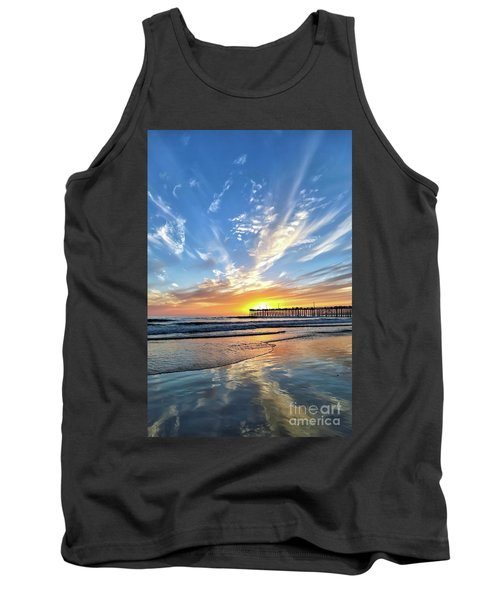 Tank Top featuring the photograph Sunset At The Pismo Beach Pier by Vivian Krug Cotton