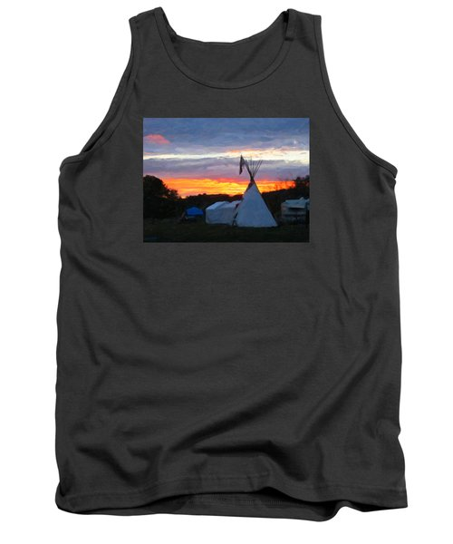 Tank Top featuring the photograph Sunset At The Powwow by Spyder Webb