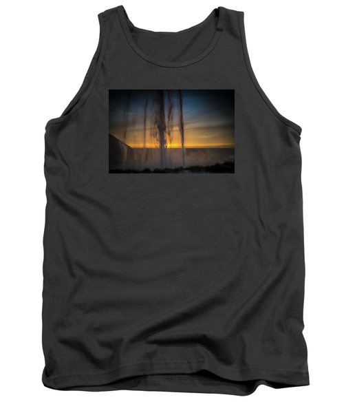 Tank Top featuring the photograph Sunset Behind The Waterfall by Chris McKenna