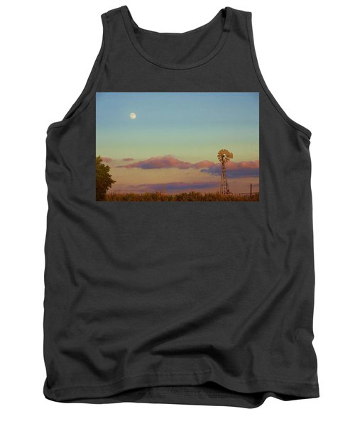 Tank Top featuring the digital art Sunset Moonrise With Windmill  by Shelli Fitzpatrick