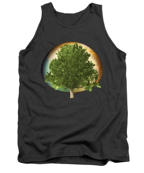 Sunset Oak Tree Cartoon Tank Top