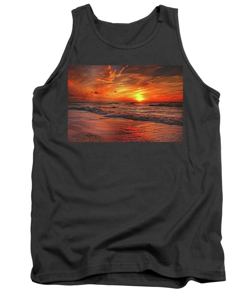 Tank Top featuring the painting Sunset Ocean Dance by Harry Warrick