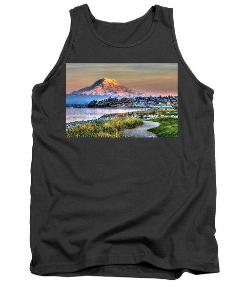 Sunset On Mt Rainier And Point Ruston Tank Top