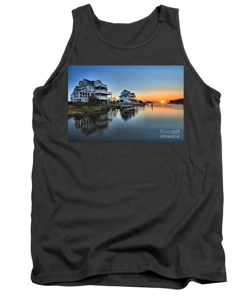 Sunset On The Obx Sound Tank Top by Adam Jewell